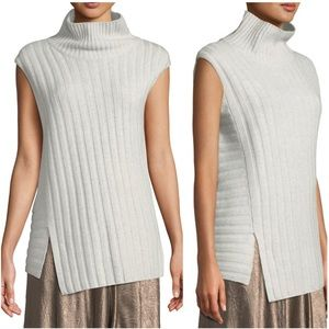 Vince 100% Cashmere Mixed Rib Turtleneck Sweater
